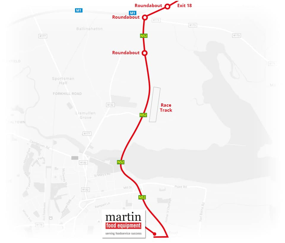 Martin Food Equipment From-Belfast-Map Contact Us