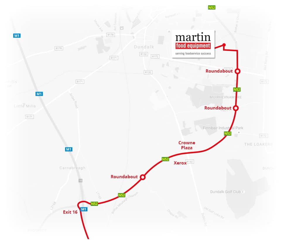 Martin Food Equipment From-Dublin-Map Contact Us