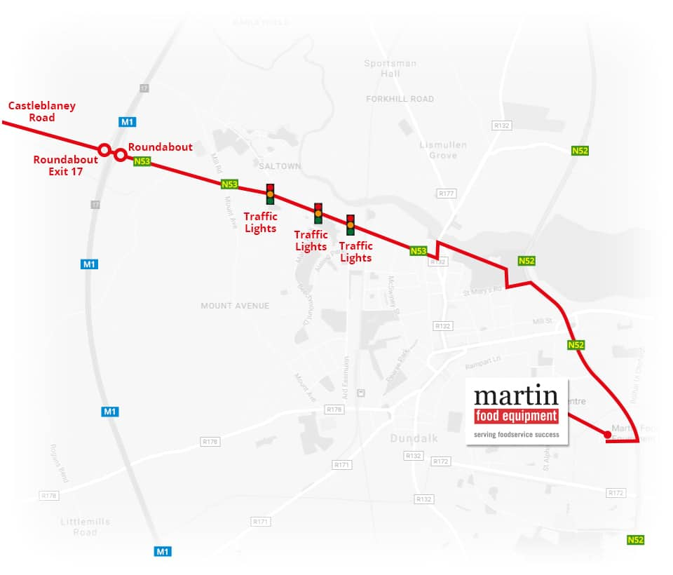 Martin Food Equipment From-Monaghan-Map Contact Us