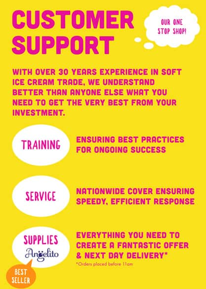 Customer Support Out one-stop-shop! With over 30 years experience in soft ice cream trade, we understand better than anyone else what you need to get the very best from your Investment. Training - ensuring best practices for ongoing success Service - nationwide cover ensuring speedy, efficient response Supplies - everything you need to create a fantastic offer and next day delivery Orders placed before 11am