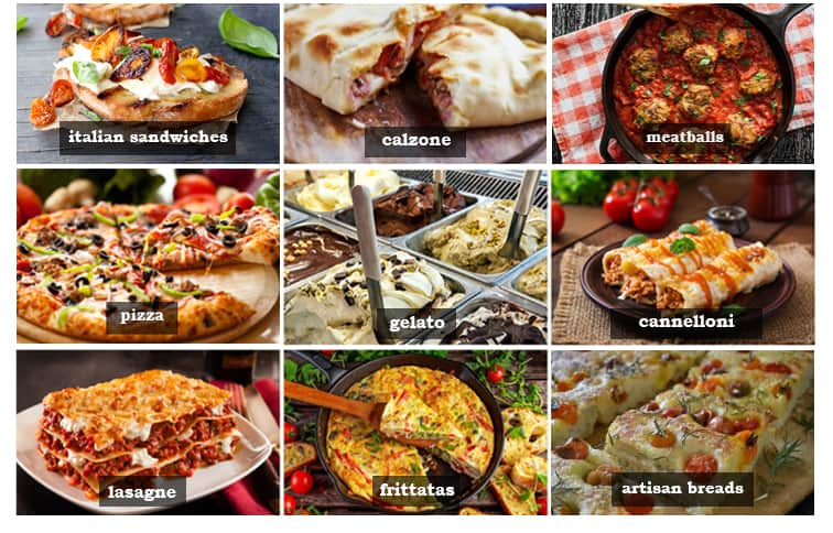 Assortment of Italian inspired dishes
