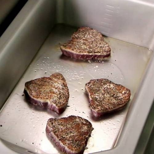 Steaks being cooked in the Frima VarioCooking Centre
