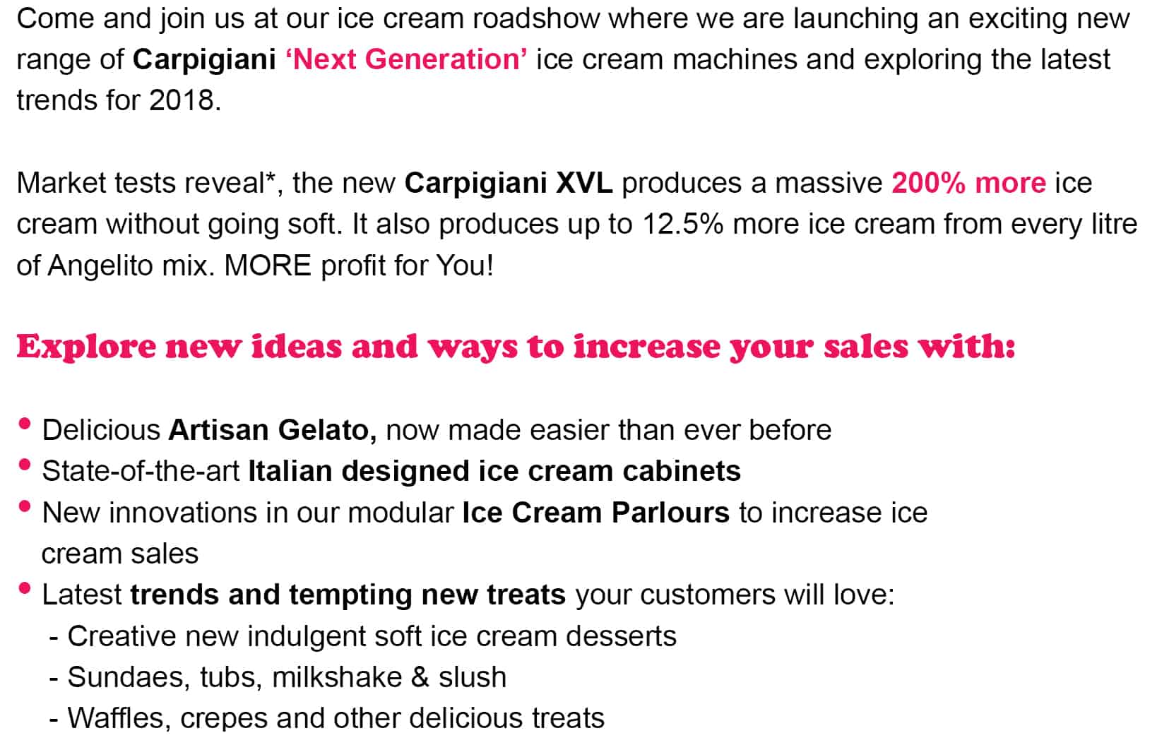 Text For Ice Cream Roadshows