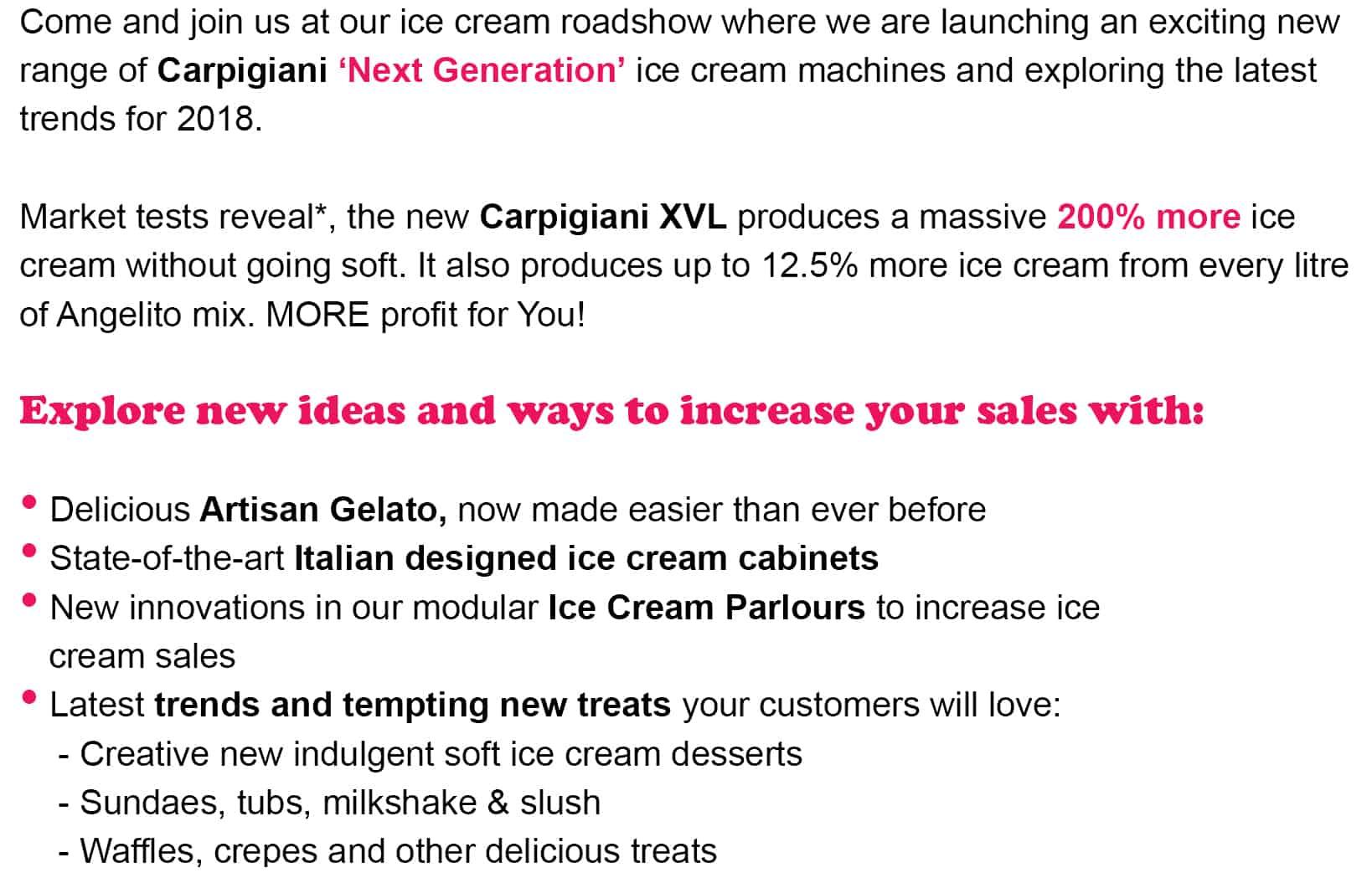 Text For Ice Cream Roadshows