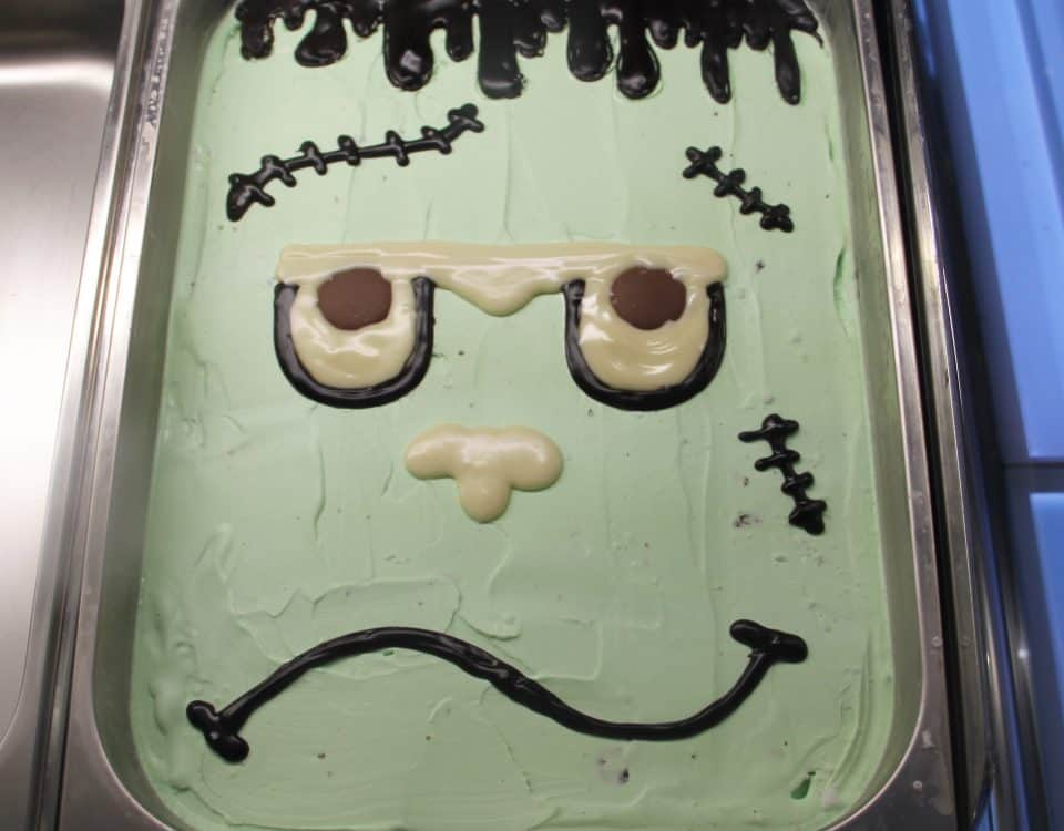 Frozen Frankenstein Gelato in Display Case